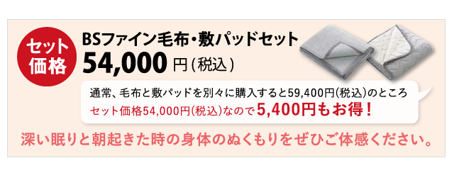 BSファイン毛布・敷きパッドセット
